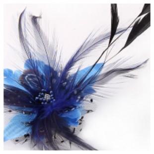 СС-6. Синий цвет. Заколки из перьев птиц для волос и броши