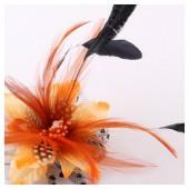СС-4. Оранжевый цвет. Заколки из перьев птиц для волос и броши