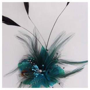 СС-5. Голубой цвет. Заколки из перьев птиц для волос и броши