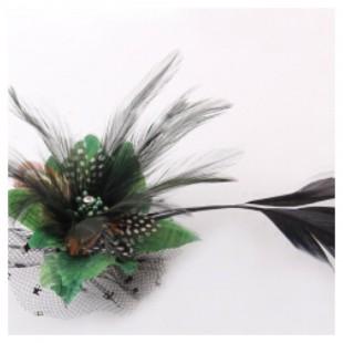 СС-2. Зеленый цвет. Заколки из перьев птиц для волос и броши