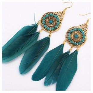 Голубой цвет. Серьги из перьев птиц