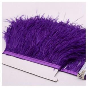 1 м. Темно-фиолетовый цвет. Тесьма из перьев страуса 10- 15 см
