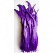 1 шт. Фиолетовый цвет.  Перья петуха.  30-35 см. Цветное