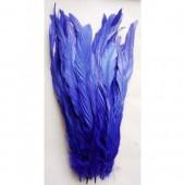 1 шт. Синий цвет.  Перья петуха.  30-35 см. Цветное