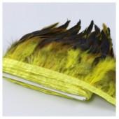 1 м. 2-х цветное. Желтый цвет. Тесьма. Перья петуха на ленте 14-19 см