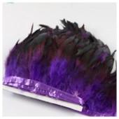 1 м. 2-х цветное. Фиолетовый цвет. Тесьма. Перья петуха на ленте 14-19 см