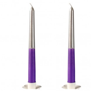 2 шт. Серебро-фиолетовый цвет. Свеча классическая в коробочке.23 мм х 23 мм х 250 мм