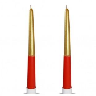 2 шт. Золото-красный цвет. Свеча классическая в коробочке.  23 мм х 23 мм х 250 мм