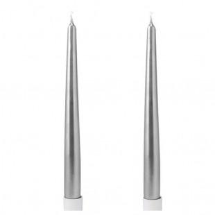 2 шт. Серебро цвет. Свеча классическая в коробочке.  23 мм х 23 мм х 250 мм