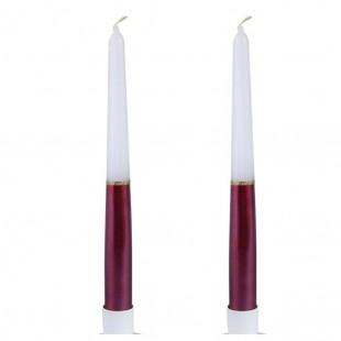 2 шт. Бело-красный цвет. Свеча классическая в коробочке.  23 мм х 23 мм х 250 мм