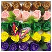 25 Роз в подарочной коробочке. Микс цвет.