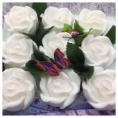 9 Роз в подарочной коробочке. Белый цвет.