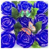 9 Роз в подарочной коробочке. Синий цвет.