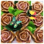 9 Роз в подарочной коробочке. Карамель цвет.