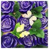 9 Роз в подарочной коробочке. Фиолетовый цвет.