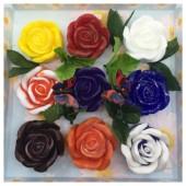9 Роз в подарочной коробочке. Микс цвет.