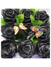 9 Роз в подарочной коробочке. Черный цвет.
