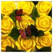 9 Роз в подарочной коробочке. Желтый цвет.