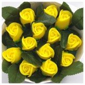 13 роз. Желтый цвет. Цветная коробка. 19 х 9. Маленькая коробка