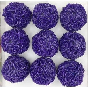 Розы шар в подарочной коробочке. Фиолетовый цвет.