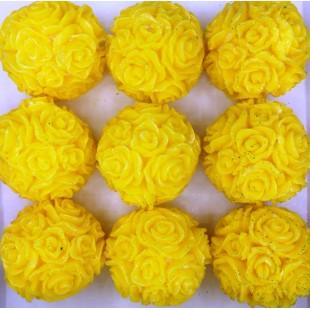 Розы шар в подарочной коробочке. Желтый цвет.