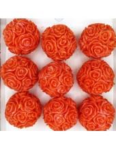 Розы шар в подарочной коробочке. Оранжевый цвет.