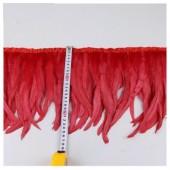 1 м. Красный цвет. Тесьма цветная из перьев петуха 25-30 см