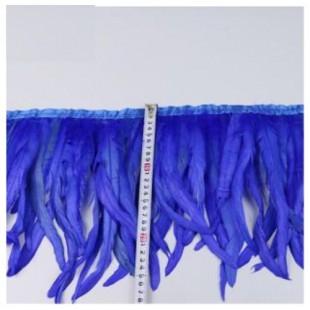 1 м. Синий цвет. Тесьма цветная из перьев петуха 25-30 см