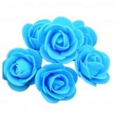 Голубой цвет. Искусственные поролоновые головки роз. Цветок 3 см  10 шт  #1919