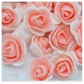 Белый-бежевый цвет. Искусственные поролоновые головки роз. Цветок 3 см  10 шт  #2121