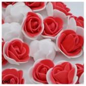 Белый-красный цвет. Искусственные поролоновые головки роз. Цветок 3 см  10 шт  #2121