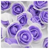 Белый-фиолетовый цвет. Искусственные поролоновые головки роз. Цветок 3 см  10 шт  #2121