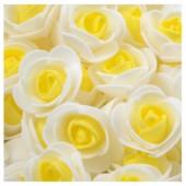 Белый-желтый цвет. Искусственные поролоновые головки роз. Цветок 3 см  10 шт  #2121