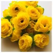Желтый цвет. Шелковые головки цветов в стиле ретро. Цветок 4 см  10 шт  #1515