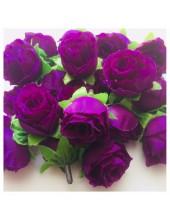 Фиолетовый цвет. Шелковые головки цветов в стиле ретро. Цветок 4 см  10 шт  #1515