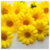 Желтый цвет. Шелковые головки цветов в стиле ретро. Цветок 4 см  10 шт  #3115