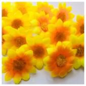 Желтый -оранжевый цвет. Шелковые головки цветов в стиле ретро. Цветок 4 см  10 шт  #3115