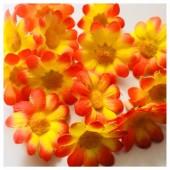 Оранжевый желтый цвет. Шелковые головки цветов в стиле ретро. Цветок 4 см  10 шт  #3115