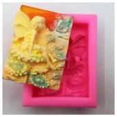 3D Силиконовая форма для мыла. Фея на цветке. 90 гр. № 18