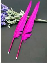 Ш-7. 1 шт.  Фуксия цвет.  Гусиное перо ручка