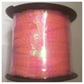 6 мм. 100 м. Розовый  цвет. Пайетки нить