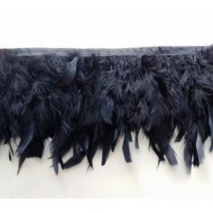 1 м. Черный цвет. тесьма из плавающих перьев 8-12 см