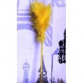 С-2. 1 шт. Желтый цвет. Ручка из перьев боа
