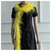 2 м. Желтый цвет. Шарф из перьев страуса 2 нити