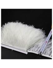 1м. Белый цвет. Тесьма из перьев страуса 10-15 см