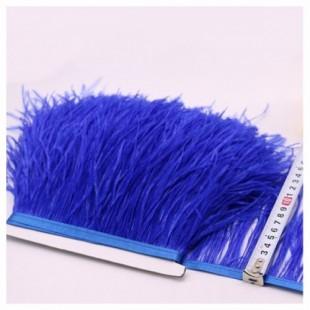 1 м. Синий цвет. Тесьма из перьев страуса 10-15 см