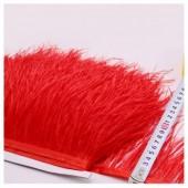 1 м. Красный цвет. Тесьма из перьев страуса 10-15 см