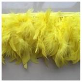 1 м. Желтый цвет. тесьма из плавающих перьев 8-12 см