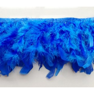 1 м. Синий цвет. тесьма из плавающих перьев 8-12 см