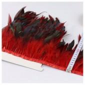 1 м. 2-х цветное. Красный цвет. Тесьма. Перья петуха на ленте 14-19 см